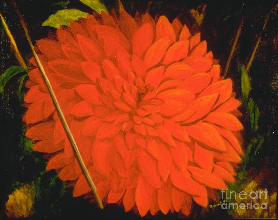 Floral Painting - Lindas Red Dahllia by Mary Erbert