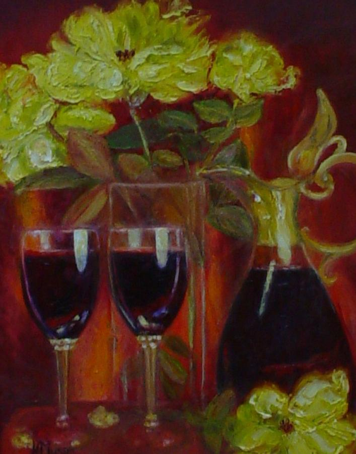 Yellow Roses Painting - Lindemans Merlot by Helen Musser