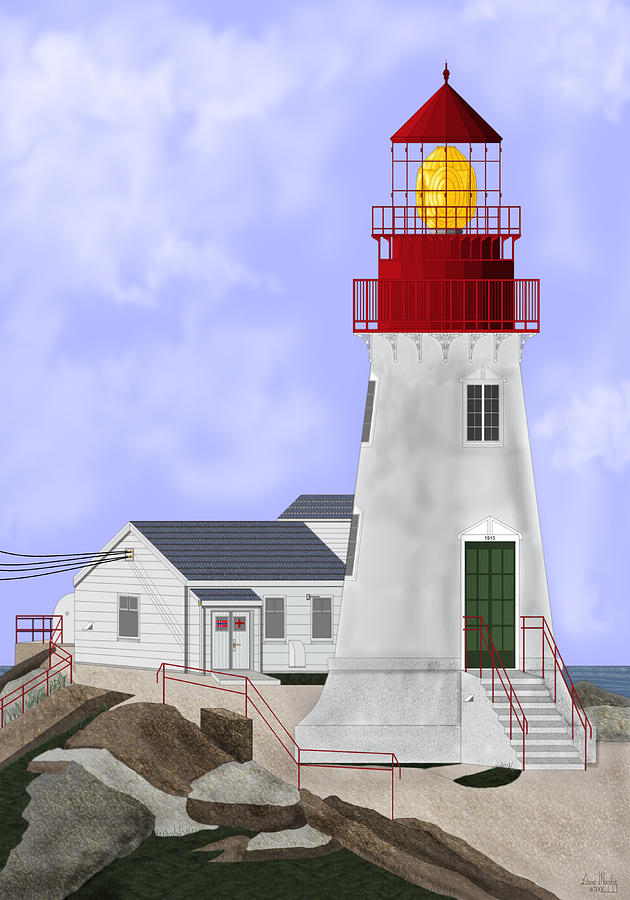 Lighthouse Painting - Lindesnes Norway Lighthouse by Anne Norskog