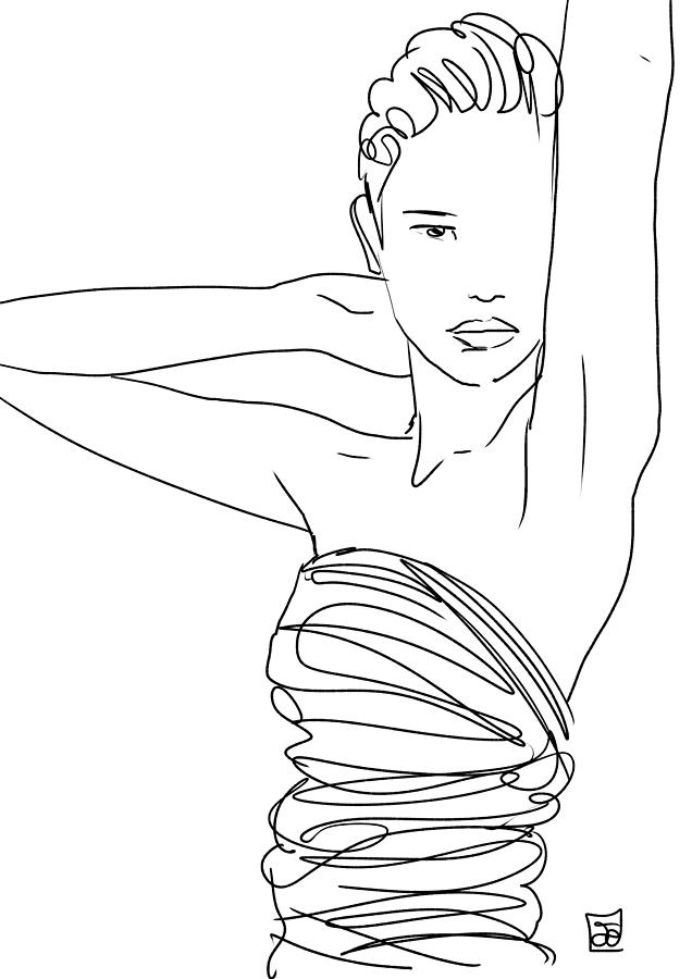Drawing Lines With Html : Line art lady drawing by giuseppe cristiano