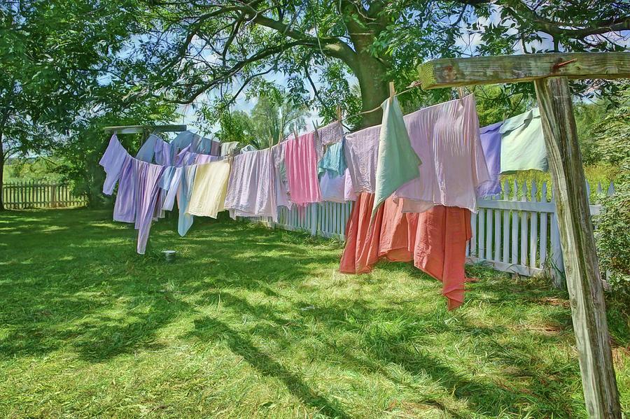 Laundry Photograph - Line Dry - Laundry by Nikolyn McDonald