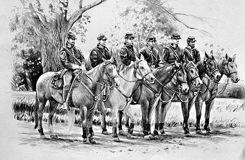 Civil War Drawing - Line Of Cavalry Troops by William Hay
