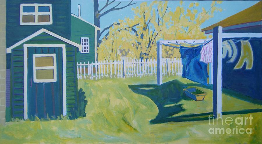 Backyard Painting - Line Of Wash by Debra Bretton Robinson