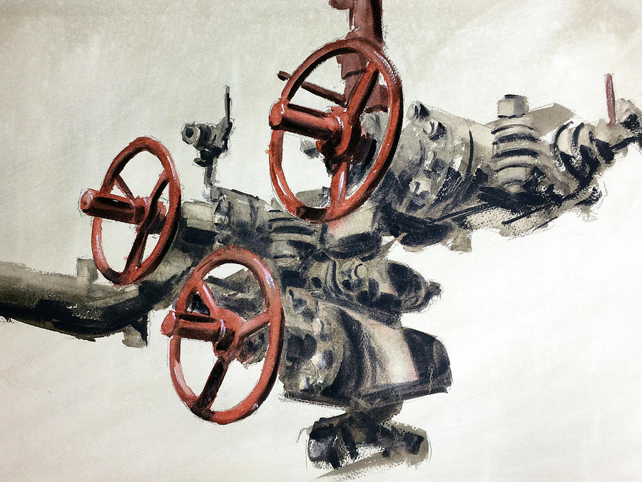 Oil And Gas Art Line Switch Painting By Francisco Carrion