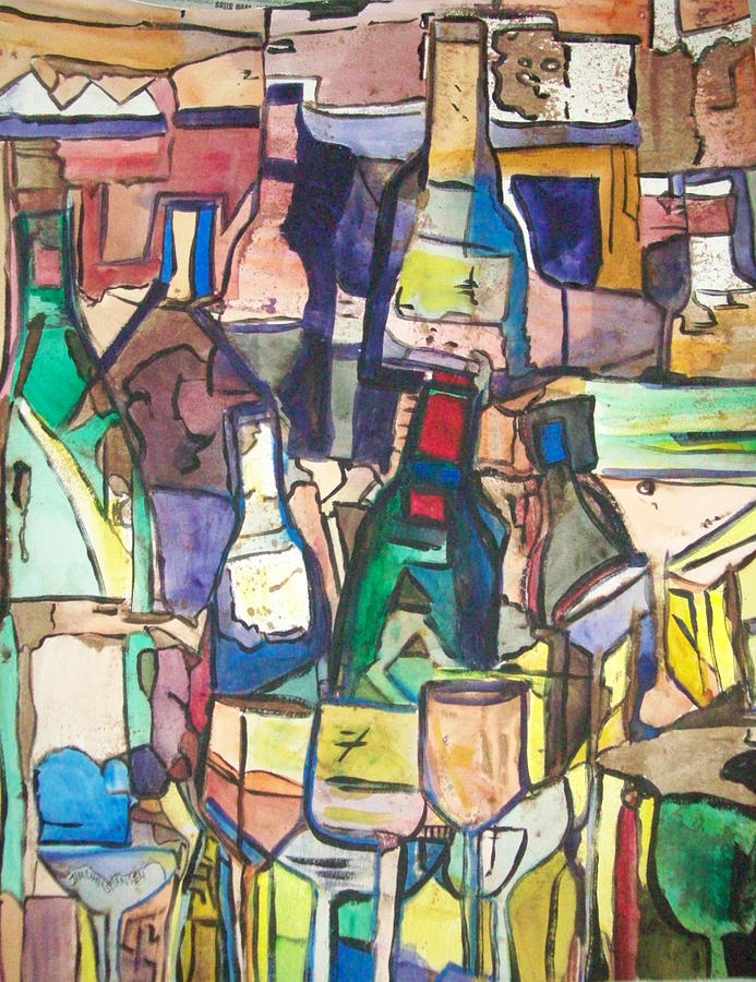 Bottles Painting - Line Them Up by James Christiansen