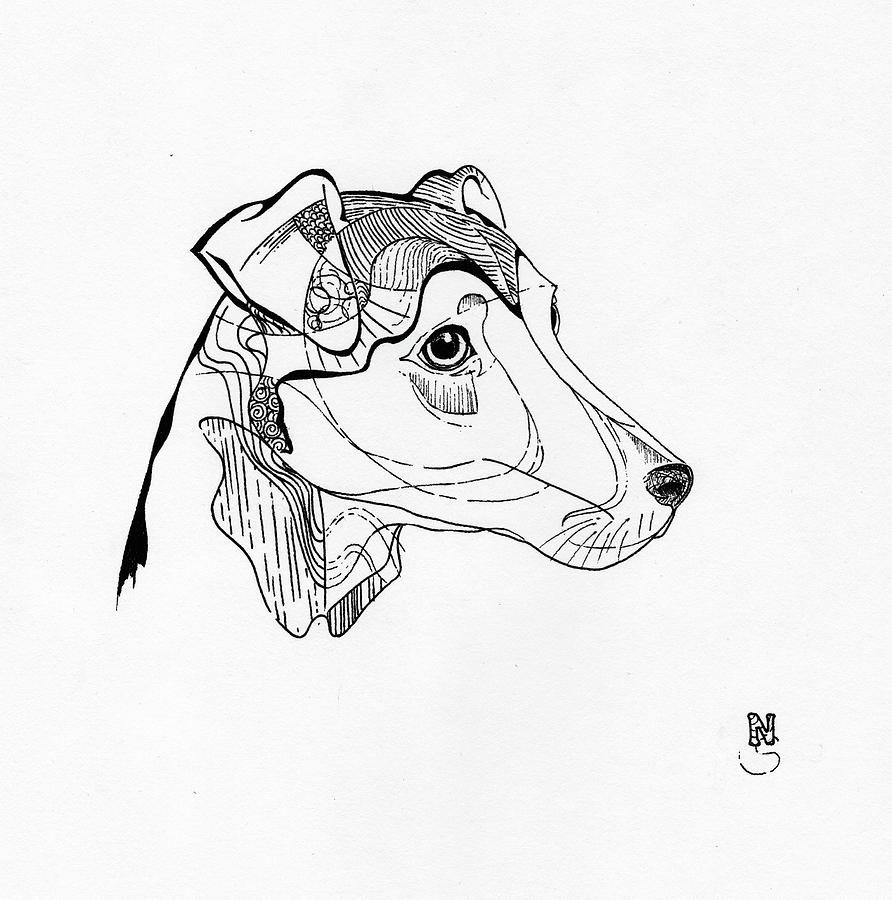 Line Drawing Dog Face : Line work dog face drawing by natta insing