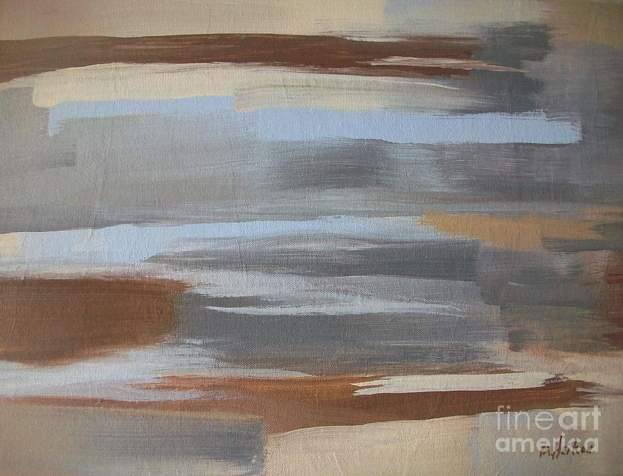 Brown Painting - Linear Browns And Blues by Marsha Heiken
