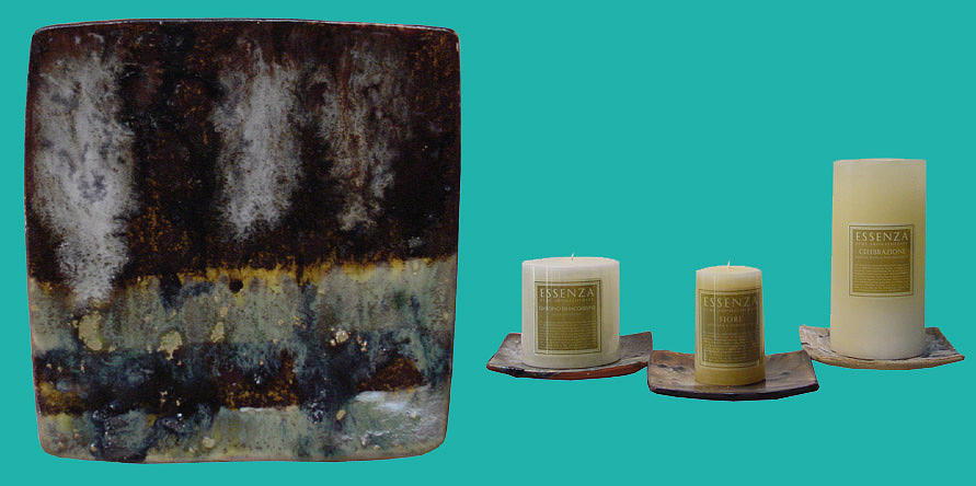 Brown Ceramic Art - Lined Candle Plate by Shirley Heyn