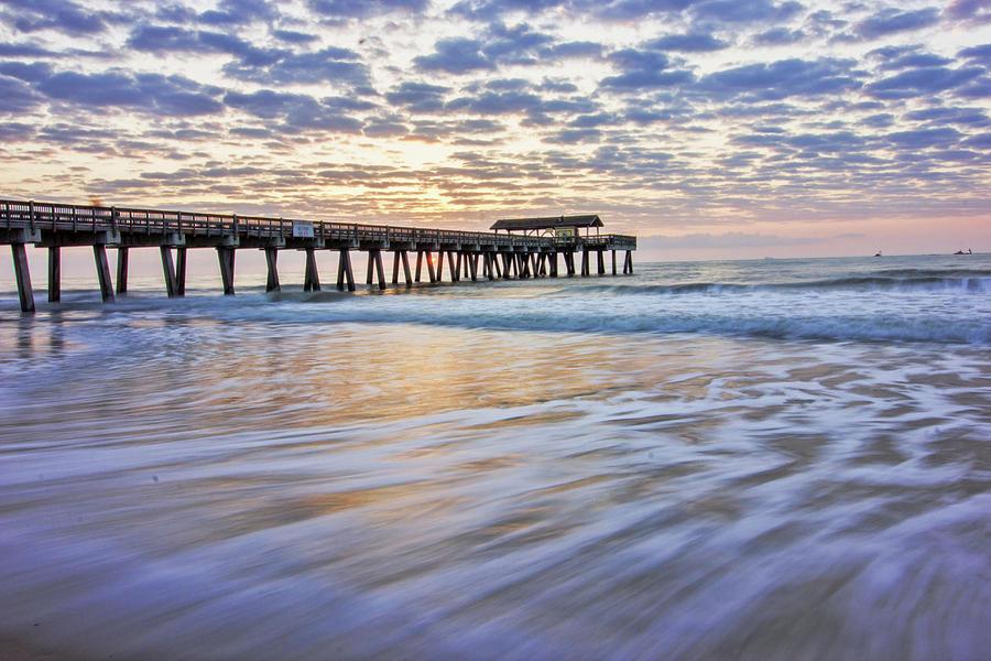 Lines in the Ocean Sunrise by Angel Sharum