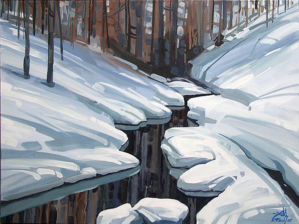 Winter Painting - Lines In The Snow by Peter John Reid