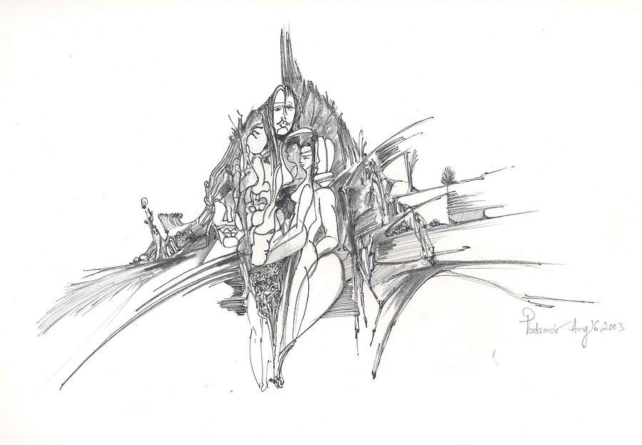 Man Drawing - Lines Of Integration by Padamvir Singh