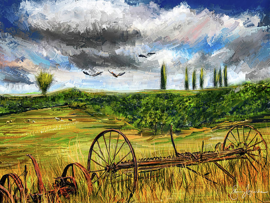 Lingering Memories Of The Past - Pastoral Artwork - Antique and Vintage Farm Equipment by Lourry Legarde
