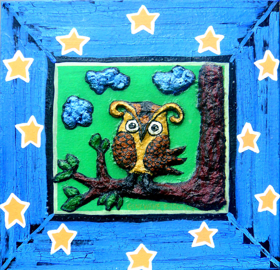 Owl Mixed Media - Lint Owl by Genevieve Esson