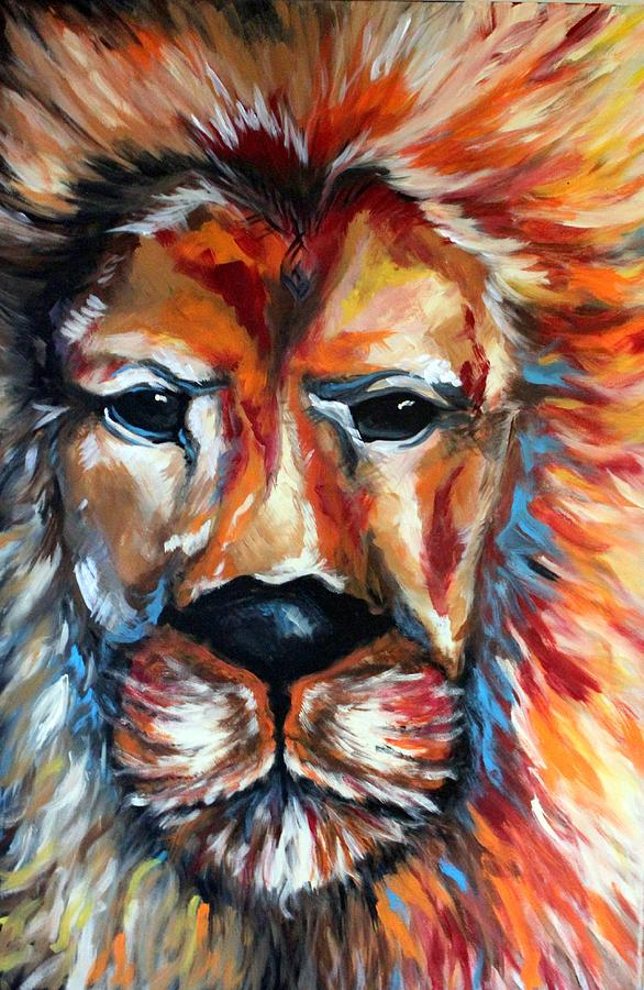 Lion Abstract Wild Animal Art Colorful Art