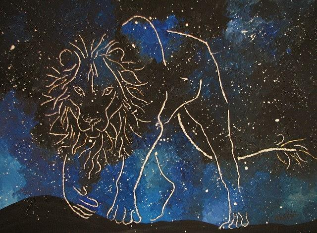 Lion Painting - Lion Among The Stars by Monica  Webster