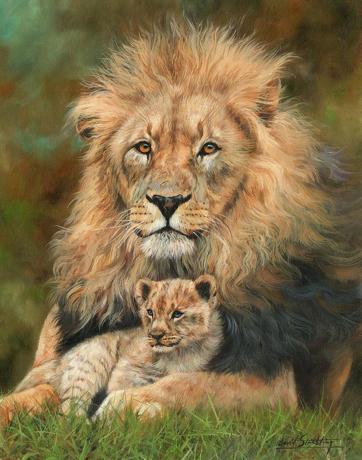 Lion And Cub Painting