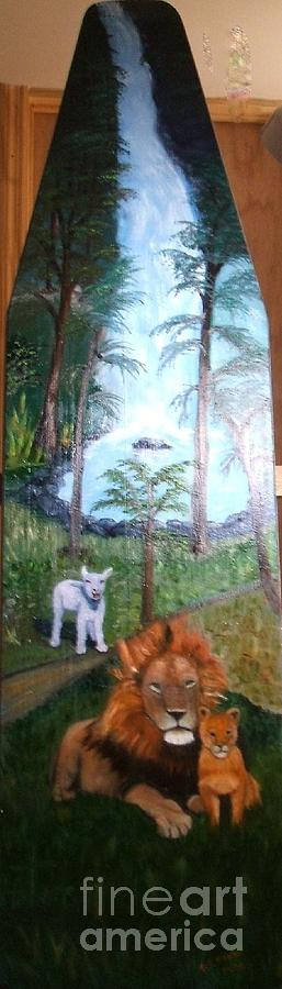 Antique Painting - Lion And Lamb by Beverly Hanni