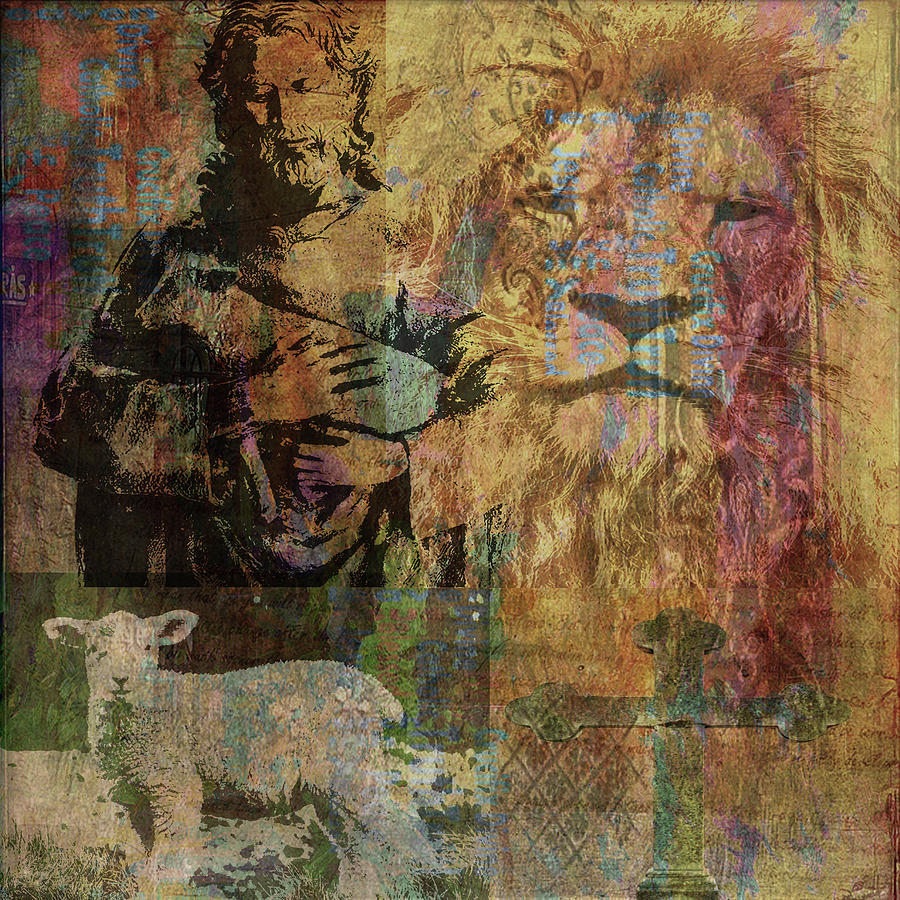 Christian Mixed Media - Lion And Lamb Collage by Angela Holmes
