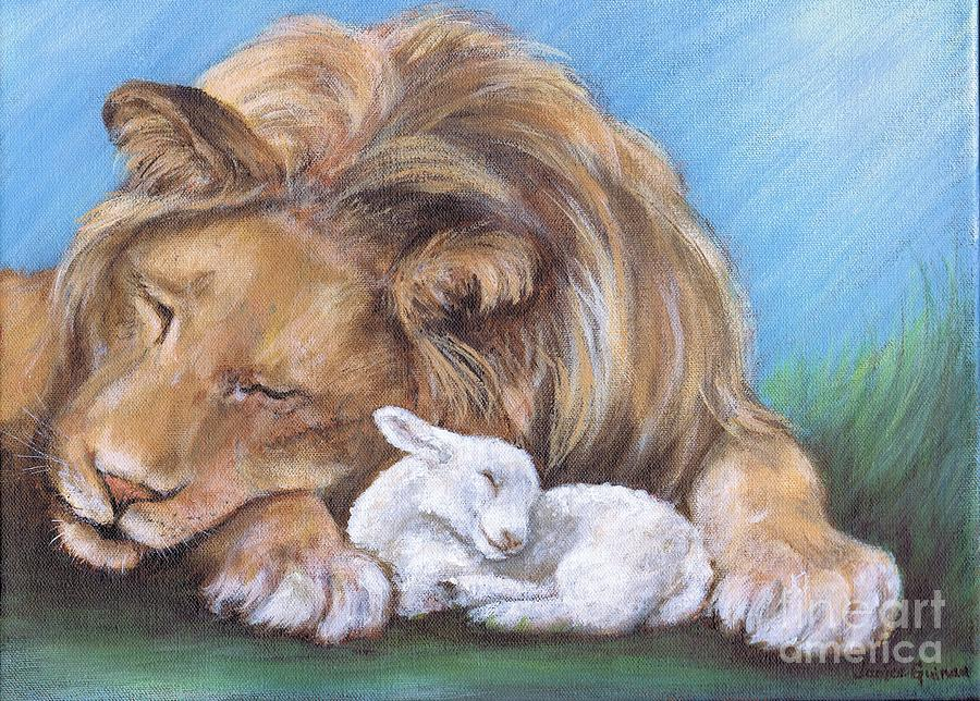 Lion Painting - Lion And The Lamb by Janice Guinan