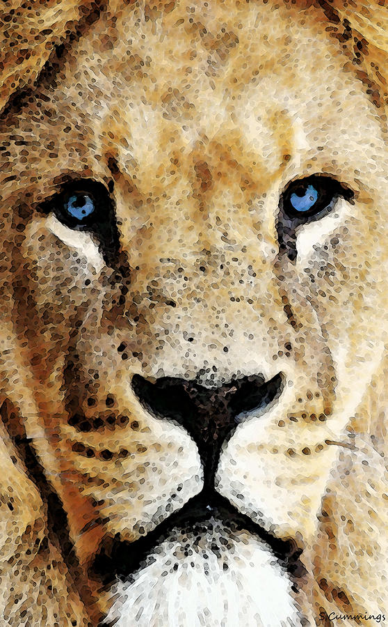 Lions Painting - Lion Art - Blue Eyed King by Sharon Cummings