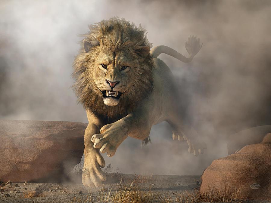 Lion Attack Digital Art