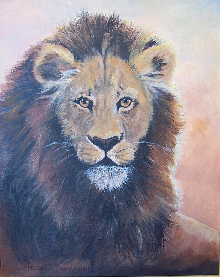 African Animals Painting - Lion by Audrie Sumner