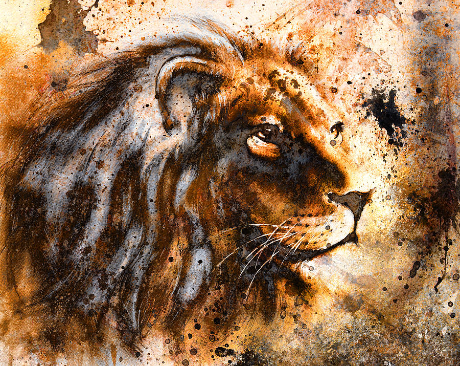 Lion Collage On Color Abstract Background Rust Structure Wildlife
