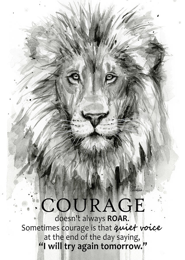 Lion Courage Motivational Quote Watercolor Animal Painting ...