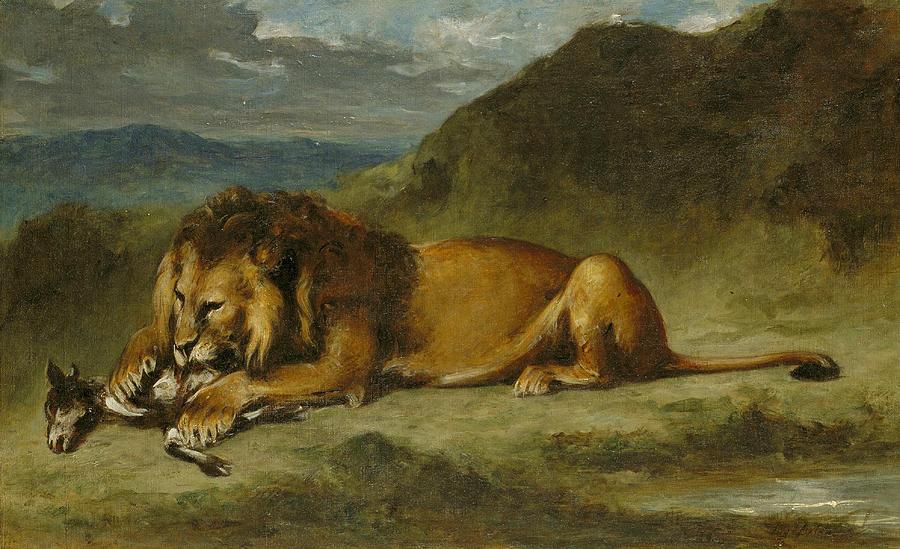 A Canvas Lion Painting