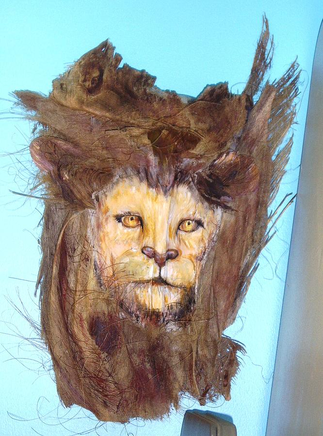 Palm Tree Frond Mixed Media - Lion by Ellen Burns