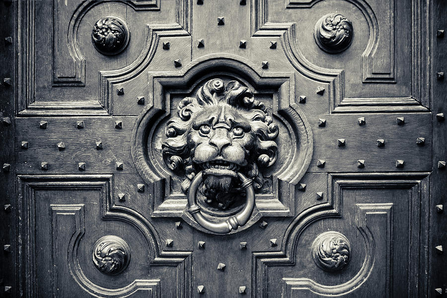 Aged Photograph - Lion Head Door Knocker by Adam Romanowicz & Lion Head Door Knocker Photograph by Adam Romanowicz Pezcame.Com