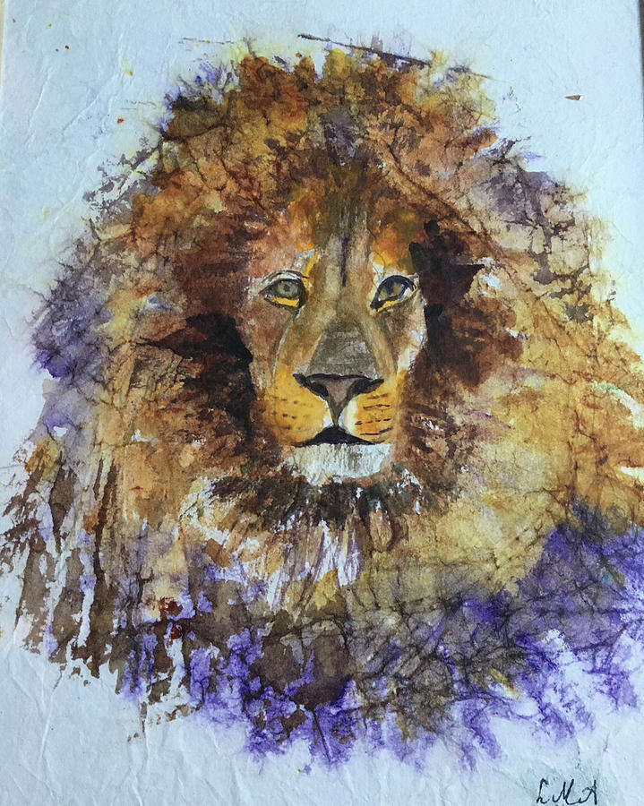 Lion Painting - Lion Head by Lynne Atwood