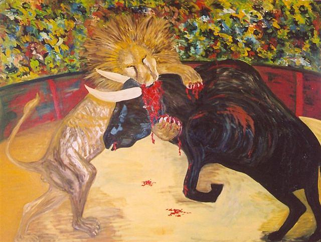 Lion Killing The Bull Painting by Gunter  Tanzerel