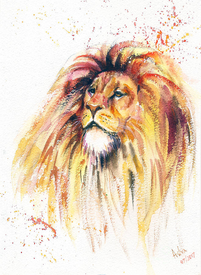 Lion King 2 Painting By Asha Sudhaker Shenoy