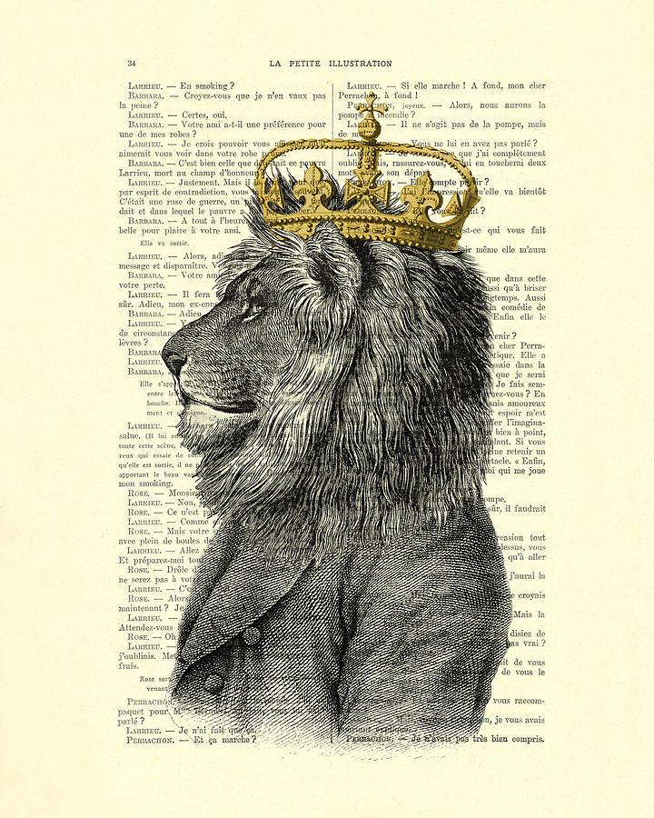 Lion Digital Art - Lion King by Madame Memento