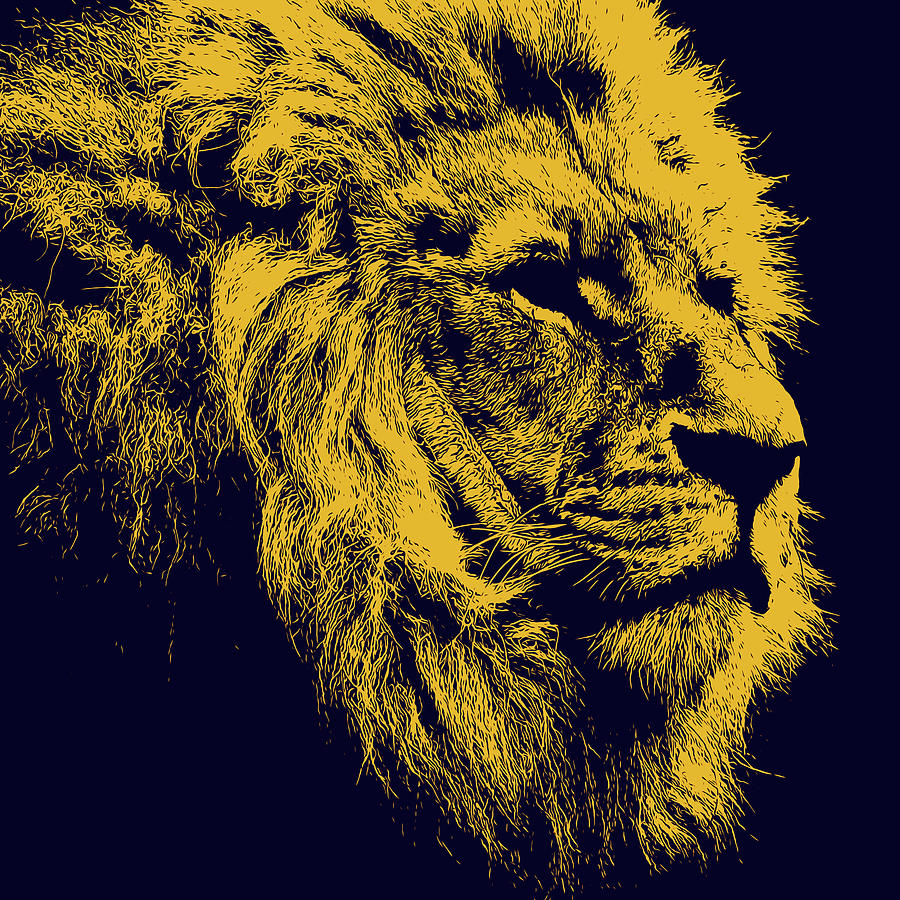 Lion King Portrait, In Yellow Painting by Andrea Mazzocchetti