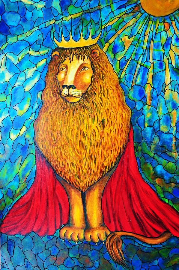 Stained Glass Painting - Lion-King by Rae Chichilnitsky