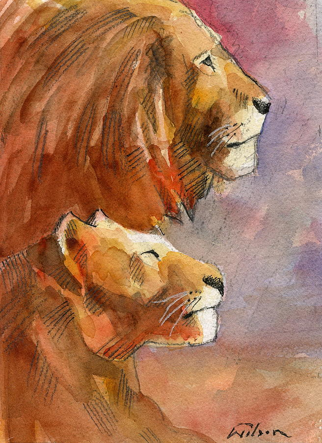 Lion Painting - Lion, Lioness by Ron Wilson