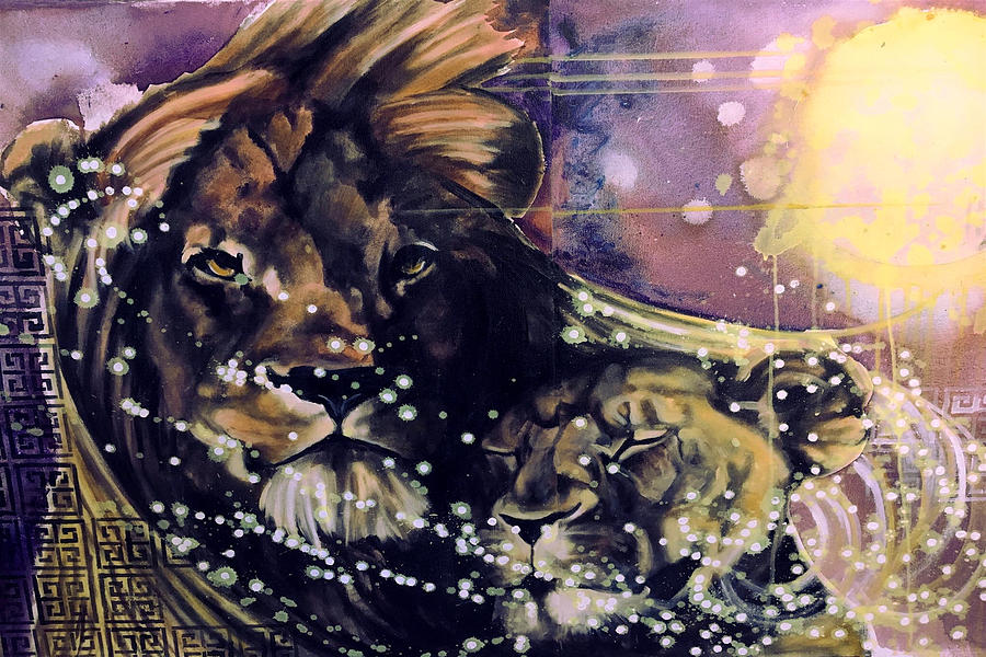 Lions Painting - Lion Love by Amoroqie Art