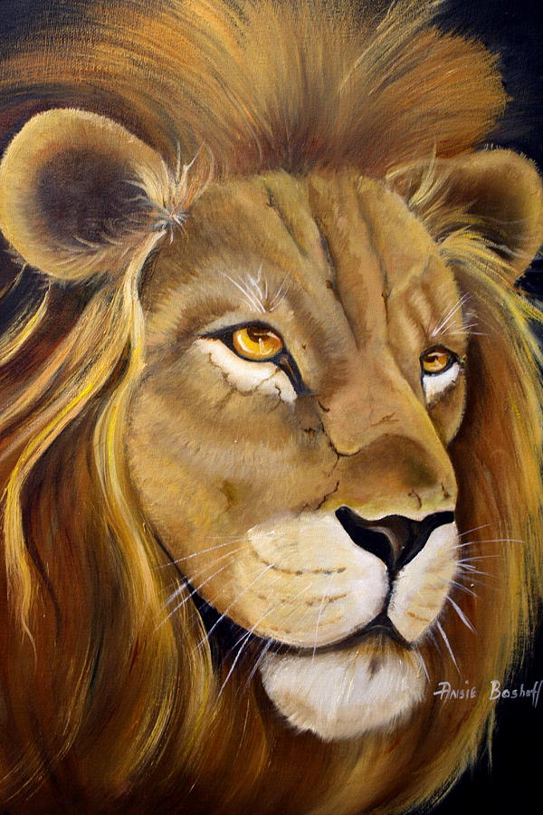 Animals Painting - Lion Male by Ansie Boshoff
