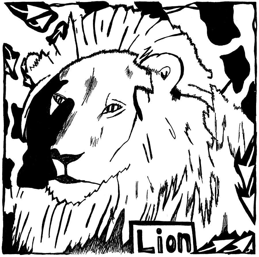 Lion Drawing - Lion Maze by Yonatan Frimer Maze Artist