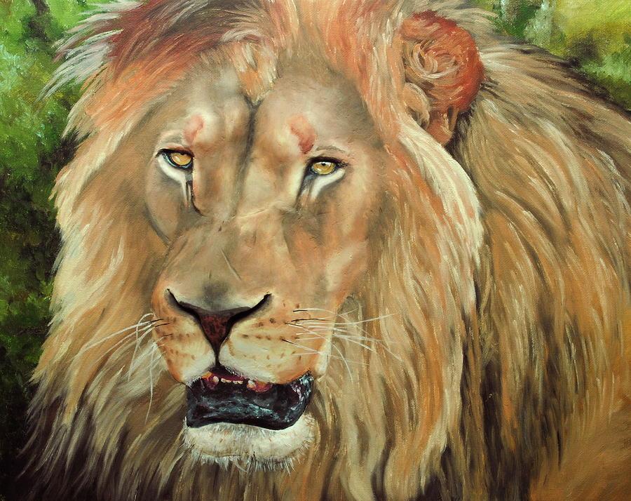 Oil Painting - Lion Portrait by Nolan Clark