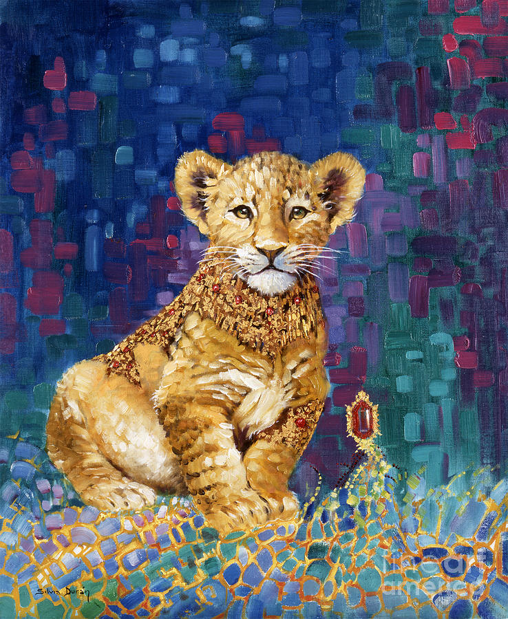 Lion Cub Painting - Lion Prince by Silvia  Duran