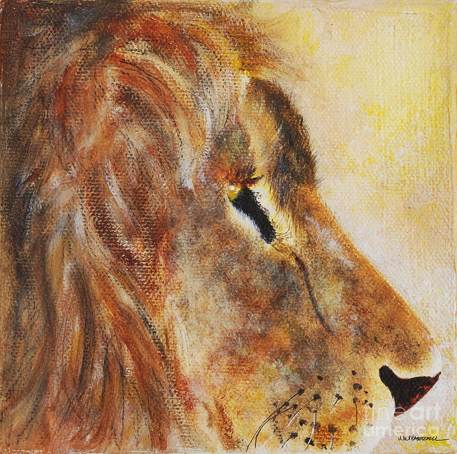 Lion Painting - Lion profile by Monica Carrell