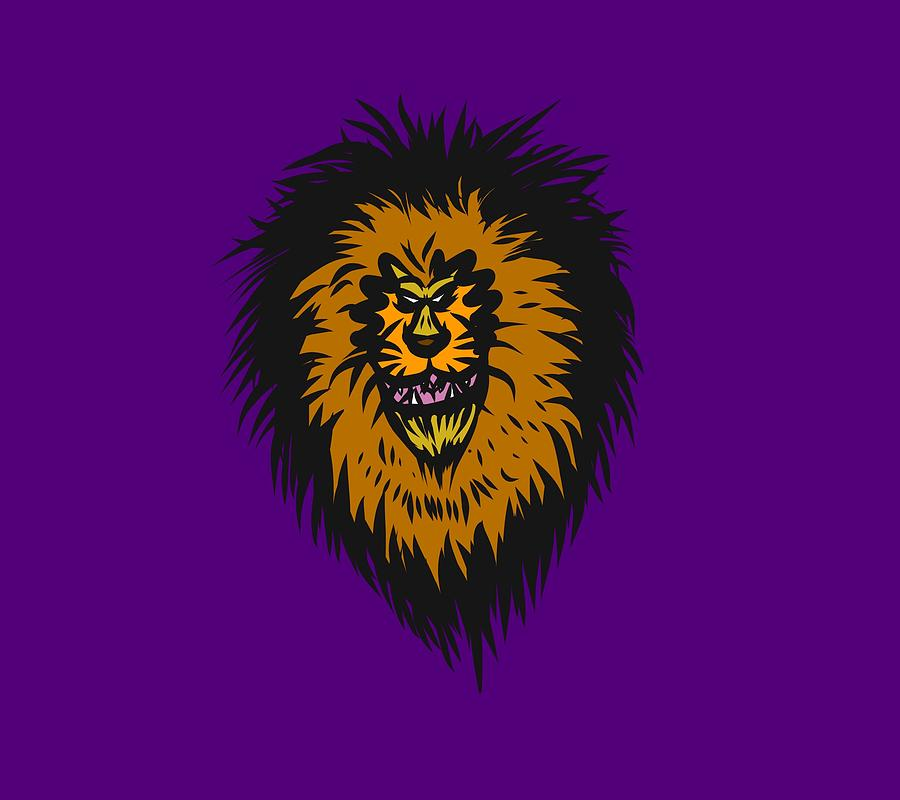 Lion Drawing - Lion Roar Purple by Robert Watson