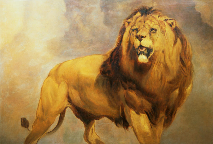 lion painting by william huggins