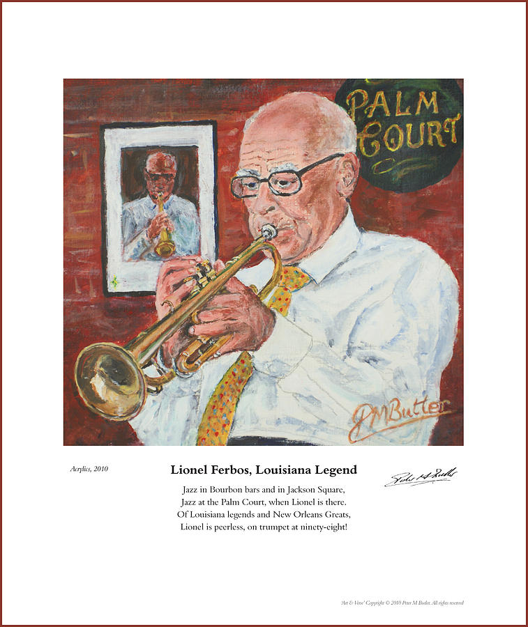 Portrait Painting - Lionel Ferbos Louisiana Legend by Peter Mark Butler