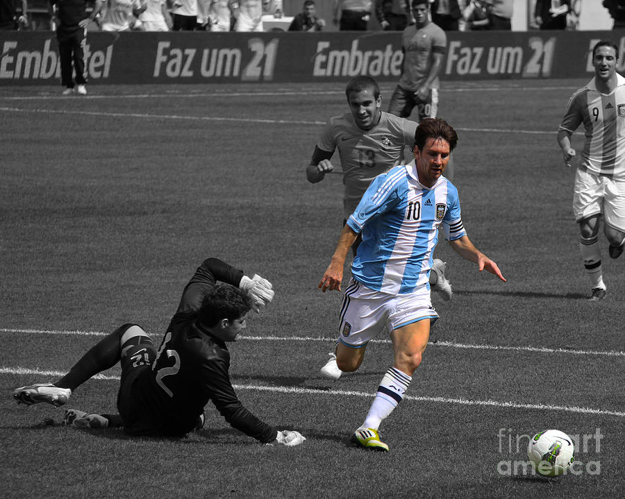 Neymar Photograph - Lionel Messi The King by Lee Dos Santos
