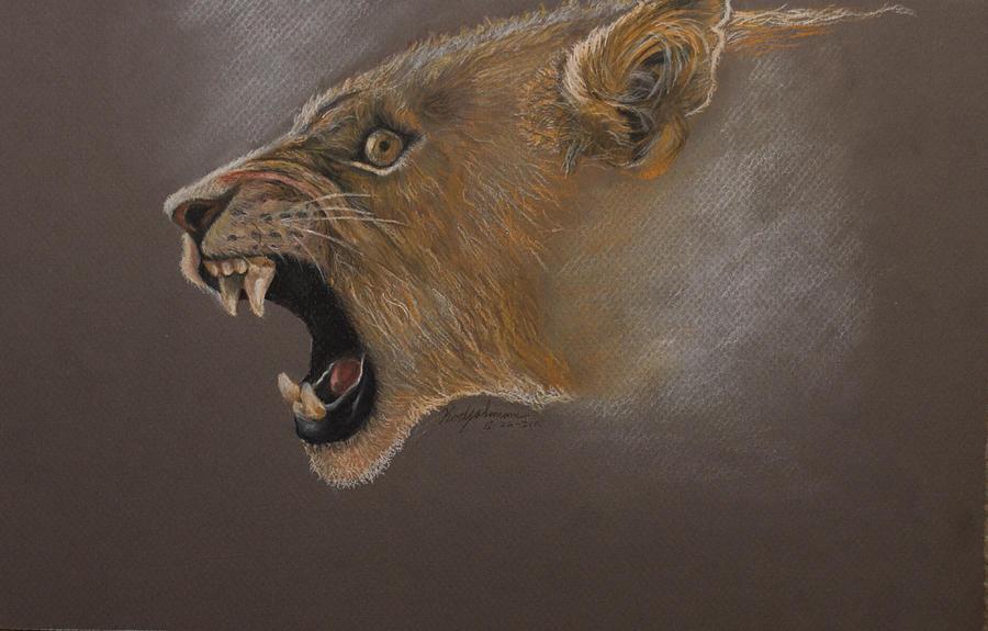 Lioness Drawing by Kodjo Somana