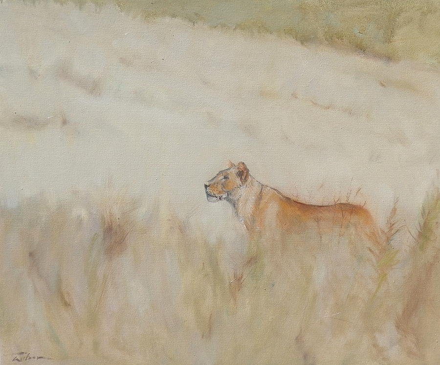 Lioness Painting - Lioness - Scent Ahead by Ron Wilson